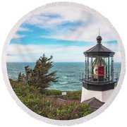 Round Beach Towel featuring the photograph Cape Meares Bright by Darren White