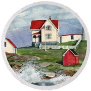Cape Neddic Lighthouse  Round Beach Towel
