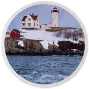 Cape Neddick Light At Dusk, York, Maine 21073 Round Beach Towel