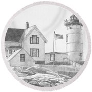 Round Beach Towel featuring the drawing Cape Neddick Light House Drawing by Dominic White