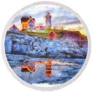 Cape Neddick Light Watercolor Round Beach Towel