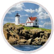 Round Beach Towel featuring the painting Cape Neddick Lighthouse by Christopher Arndt