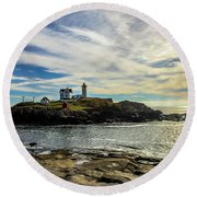 Cape Neddick Lighthouse Round Beach Towel by Sherman Perry