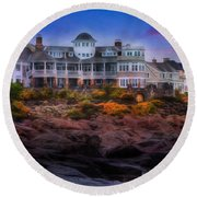 Round Beach Towel featuring the photograph Cape Neddick Maine Scenic Vista by Shelley Neff