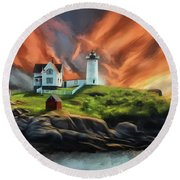 Round Beach Towel featuring the digital art Cape Neddick Nubble Lighthouse by Lois Bryan