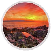 Cape Neddick Sunrise Round Beach Towel by Raymond Salani III