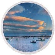 Round Beach Towel featuring the photograph Cape Porpoise Harbor At Sunset by Rick Berk