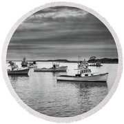 Round Beach Towel featuring the photograph Cape Porpoise Harbor In Black And White by Rick Berk