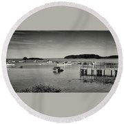 Cape Porpoise Harbor Round Beach Towel