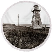 Round Beach Towel featuring the photograph Cape Tryon Light - Bw by Chris Bordeleau