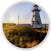 Round Beach Towel featuring the photograph Cape Tryon Light by Chris Bordeleau