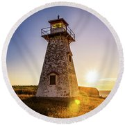 Cape Tryon Light Sunset Round Beach Towel