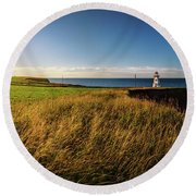 Cape Tryon Lighthouse Sunset Round Beach Towel