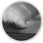 Round Beach Towel featuring the photograph Cape Tyron Vortex Black And White by Edward Fielding