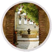 Capistrano Gate Round Beach Towel