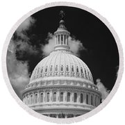 Capital Dome Washington D C  B W Round Beach Towel