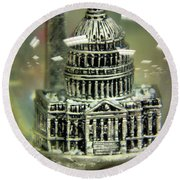 Capital Snow Globe  Round Beach Towel by John S