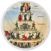 Capitalist Pyramid, 1911 Round Beach Towel
