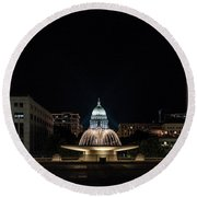 Capitol And Fountain Round Beach Towel
