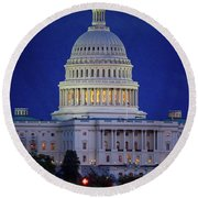 Capitol At Dusk Round Beach Towel