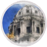 Capitol Dome St Paul Minnesota Round Beach Towel