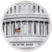 Round Beach Towel featuring the photograph Capitol Flag by John Schneider