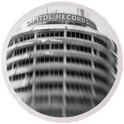 Round Beach Towel featuring the photograph Capitol Records Building 18 by Micah May