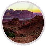 Capitol Reef Sunrise Round Beach Towel