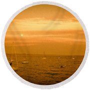 Round Beach Towel featuring the photograph Capitola by Lora Lee Chapman