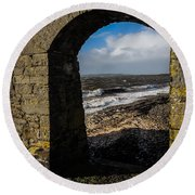 Cappagh Pier And Ireland's Shannon Estuary Round Beach Towel