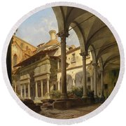Cappella De'pazzi At The Church Of Santa Croce In Florence Round Beach Towel
