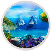Capri Colors Round Beach Towel by Elise Palmigiani