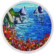 Capri Faraglioni 2 Italy Colors Modern Impressionist Palette Knife Oil Painting Ana Maria Edulescu  Round Beach Towel
