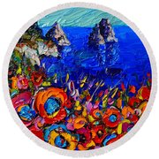 Capri Faraglioni Italy Colors Modern Impressionist Palette Knife Oil Painting By Ana Maria Edulescu  Round Beach Towel