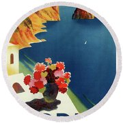 Capri Island Of The Sun - Italy Vintage Travel  1952 Round Beach Towel