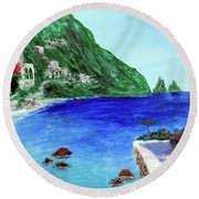 Round Beach Towel featuring the painting  Capri by Larry Cirigliano