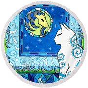 Capricorn Cat Zodiac Round Beach Towel