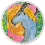 Round Beach Towel featuring the painting Capricorn by Cathie Richardson
