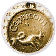 Capricorn Zodiac Lucky Charm Round Beach Towel