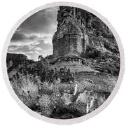 Round Beach Towel featuring the photograph Caprock And Cactus by Stephen Stookey