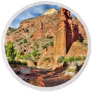 Caprock Canyon Cliff Round Beach Towel