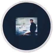 Capt Derek Law Round Beach Towel by Tim Johnson