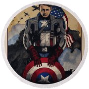 Captain America Recruiting Poster Round Beach Towel by Dale Loos Jr