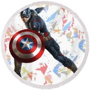 Round Beach Towel featuring the mixed media Captain America Splash Super Hero Series by Movie Poster Prints