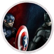 Captain America Vs Batman Round Beach Towel by Vinny John Usuriello