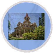 Round Beach Towel featuring the photograph Captain George Flavel House by Thom Zehrfeld