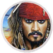 Captain Jack Round Beach Towel by Arie Van der Wijst