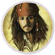 Captain Jack Sparrow Round Beach Towel