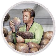 Captain Kirk And Tribbles Round Beach Towel