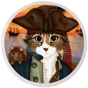 Captain Leo - Pirate Cat And Rat Round Beach Towel